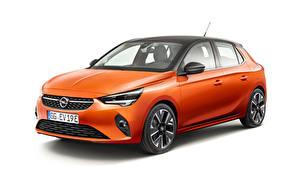 Bilder Opel Weißer hintergrund Orange 2019-20 Corsa-e