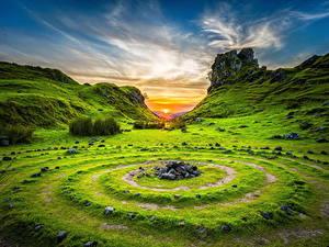 Bilder Landschaftsfotografie Morgendämmerung und Sonnenuntergang Himmel Steine Gras Kreis Natur
