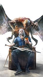 Fotos The Witcher 3: Wild Hunt Geralt von Rivia Dämonen Flügel Schwert Sitzend Thron computerspiel Fantasy