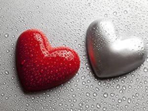 Bilder Valentinstag Grauer Hintergrund Herz 2 Tropfen