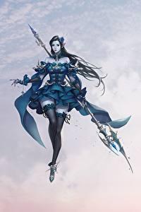 Fonds d'écran Guerrier Les robes Bas Jambe Lance Belles Bâton Cheolseung ok Asmodian Knight Fantasy Filles