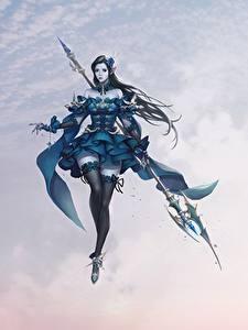 Hintergrundbilder Krieger Kleid Nylonstrumpf Bein Speer Schön Magierstab Cheolseung ok Asmodian Knight Fantasy Mädchens
