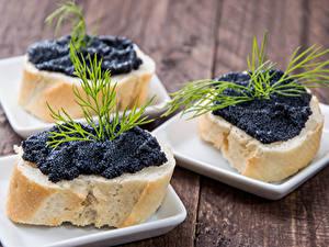 Bilder Butterbrot Kaviar Dill Bretter Drei 3 Schwarz das Essen