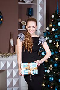 Fonds d'écran Nouvel An Aux cheveux bruns Les robes Sapin de Noël Sourire Boules