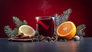 Hintergrundbilder Neujahr Zimt Orange Frucht Zitrone Nussfrüchte Sternanis Getränke Trinkglas Lebensmittel