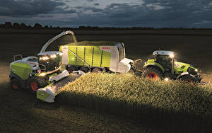 Fotos Acker Landwirtschaftlichen Maschinen Mähdrescher Nacht Traktoren Ähren Claas Jaguar 860 Claas Axion 840