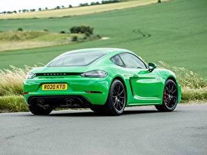 Hintergrundbilder Porsche Coupe Grün Metallisch Hinten 718 Cayman GTS 4.0, 982C, UK-spec, 2020 auto