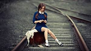 Picture Railroads Legs Sitting Suitcase Beautiful Brown haired Anna Shuvalova female