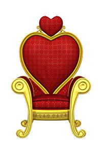 Fotos Valentinstag Weißer hintergrund Sessel Design Herz 3D-Grafik