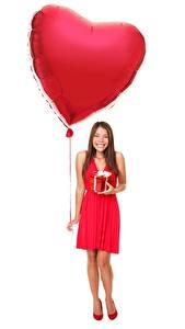 Papéis de parede Dia dos Namorados Fundo branco Balão Coração Alegria Meninas