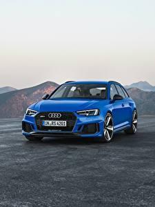 Bilder Audi Metallisch Blau 2017 RS 4 Avant Autos