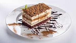 Bilder Torte Stück Teller Kakaopulver