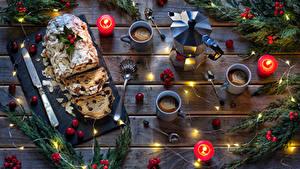 Hintergrundbilder Neujahr Backware Keks Kerzen Kaffee Pfeifkessel Beere Rosinen Bretter Ast Tasse Löffel