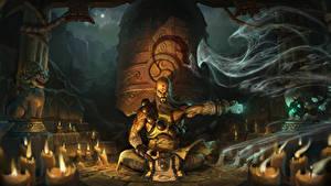 Bilder Diablo 3 Magie Kerzen Schamane Sitzend Nacht Reaper of Souls, Monk Spiele Fantasy