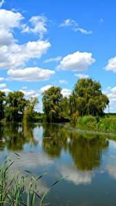 Bilder See Himmel Bäume Wolke