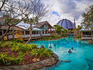 Hintergrundbilder USA Park Disneyland Teich Haus Kalifornien Anaheim HDRI Design Natur