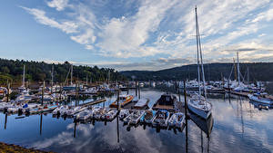Bilder Vereinigte Staaten Park Bootssteg Segeln Motorboot Yacht Acadia National Park Städte