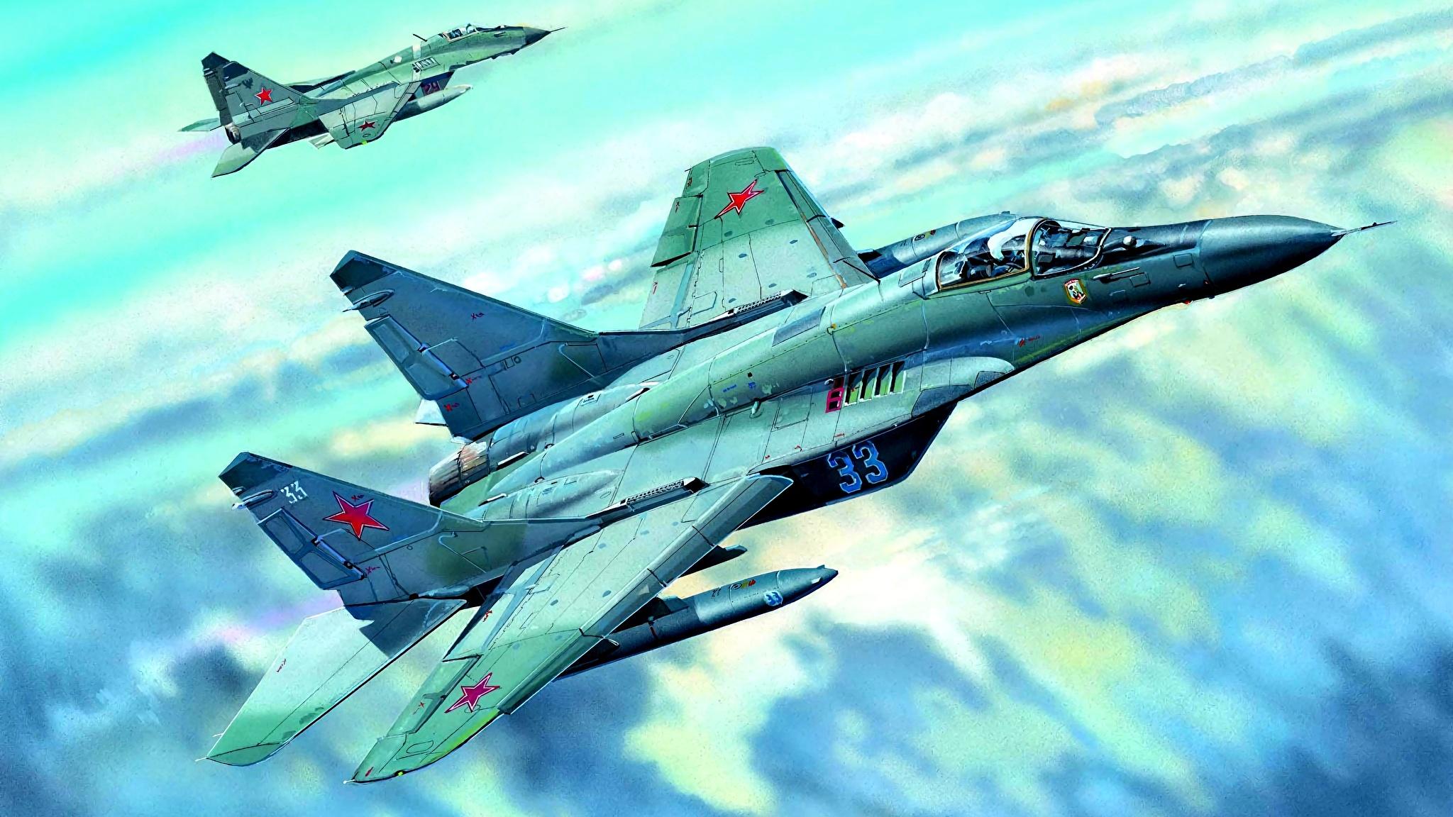 Fotos von Jagdflugzeug Mikojan-Gurewitsch MiG-29 Flugzeuge Russische Mig-29C Gezeichnet Luftfahrt 2048x1152