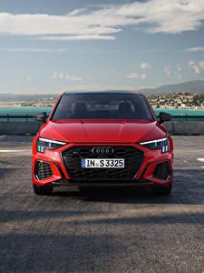 Bilder Audi Rot Metallisch Vorne S3 Sedan, 2020 Autos