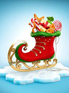 Bilder Neujahr Süßigkeiten Schlittschuh Design Lebensmittel