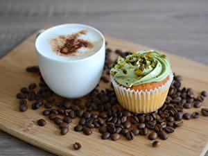 Hintergrundbilder Kaffee Cappuccino Törtchen Cupcake Getreide Schneidebrett