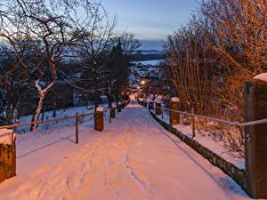 Bilder Deutschland Winter Straße Abend Bayern Schnee Bäume Gesees Städte