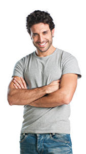 Photo Man White background Smile Glance Hands