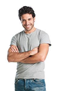 Fotos Mann Weißer hintergrund Lächeln Blick Hand