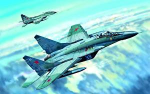 Images Painting Art Airplane Fighter Airplane Mikoyan MiG-29 Russian Mig-29C Aviation