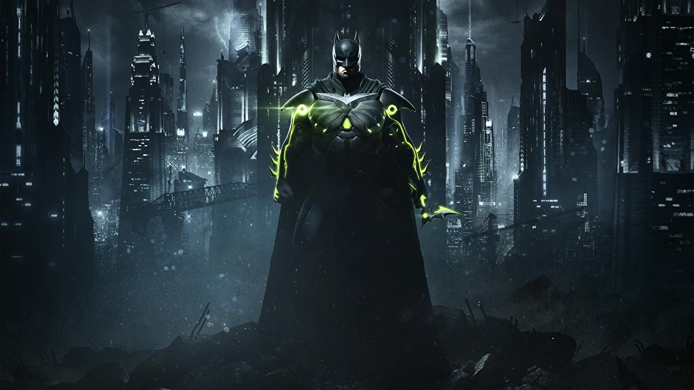 Image Injustice 2 Heroes comics Batman hero vdeo game Night 1366x768 superheroes Games night time