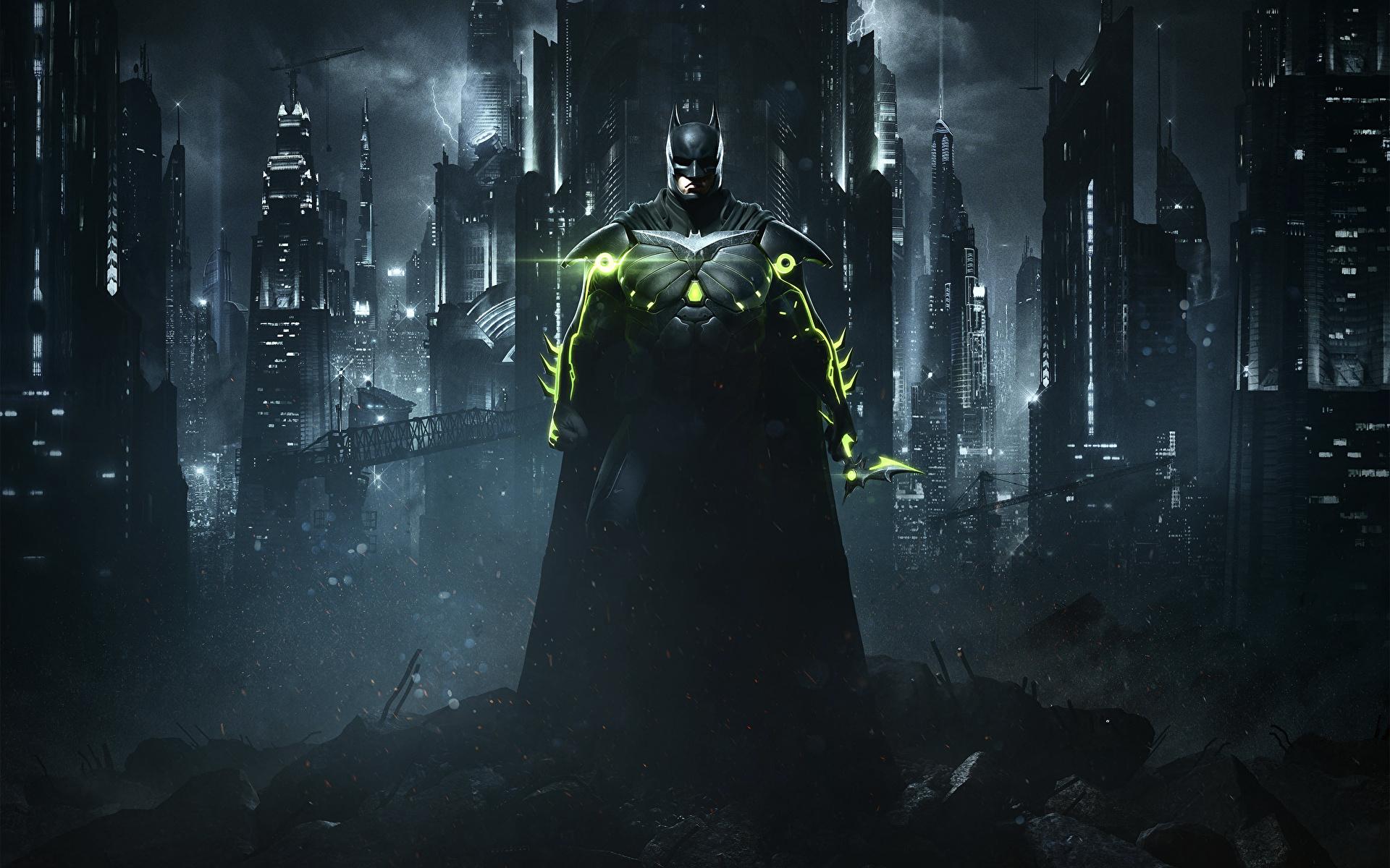 Image Injustice 2 Heroes comics Batman hero vdeo game Night 1920x1200 superheroes Games night time