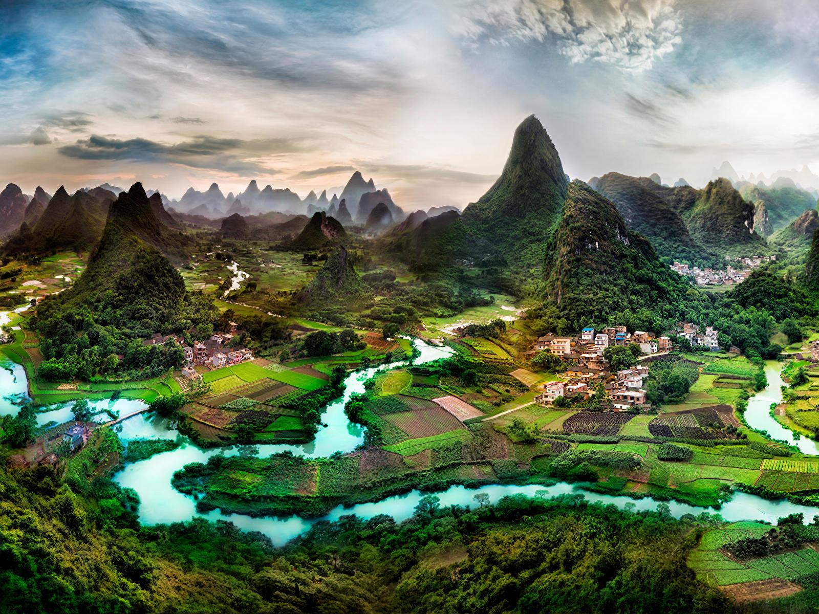 Fotos von China Guangxi Province Natur Felsen Acker Flusse Gebäude 1600x1200 Felder Fluss Haus