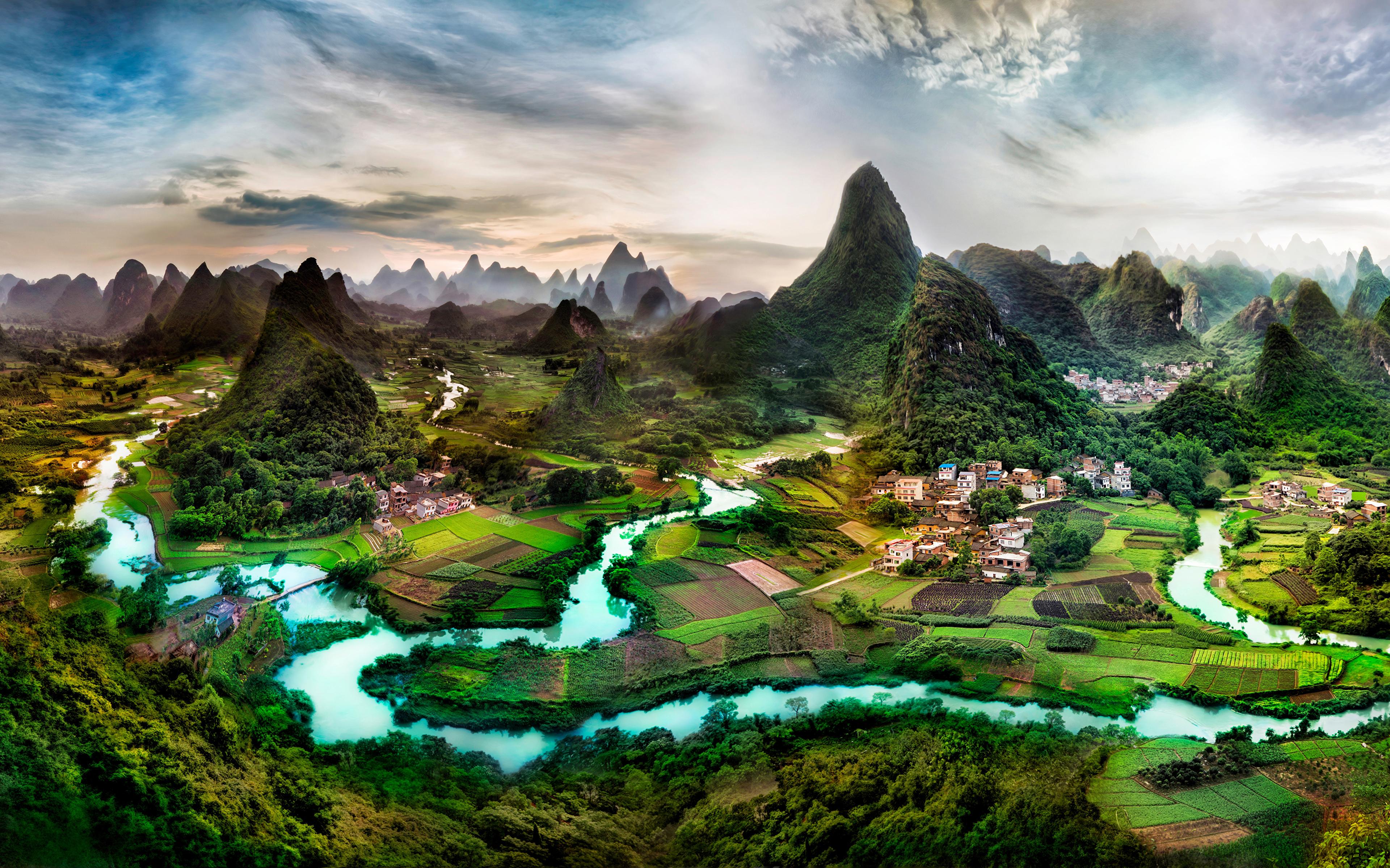 Fotos von China Guangxi Province Natur Felsen Acker Flusse Gebäude 3840x2400 Felder Fluss Haus
