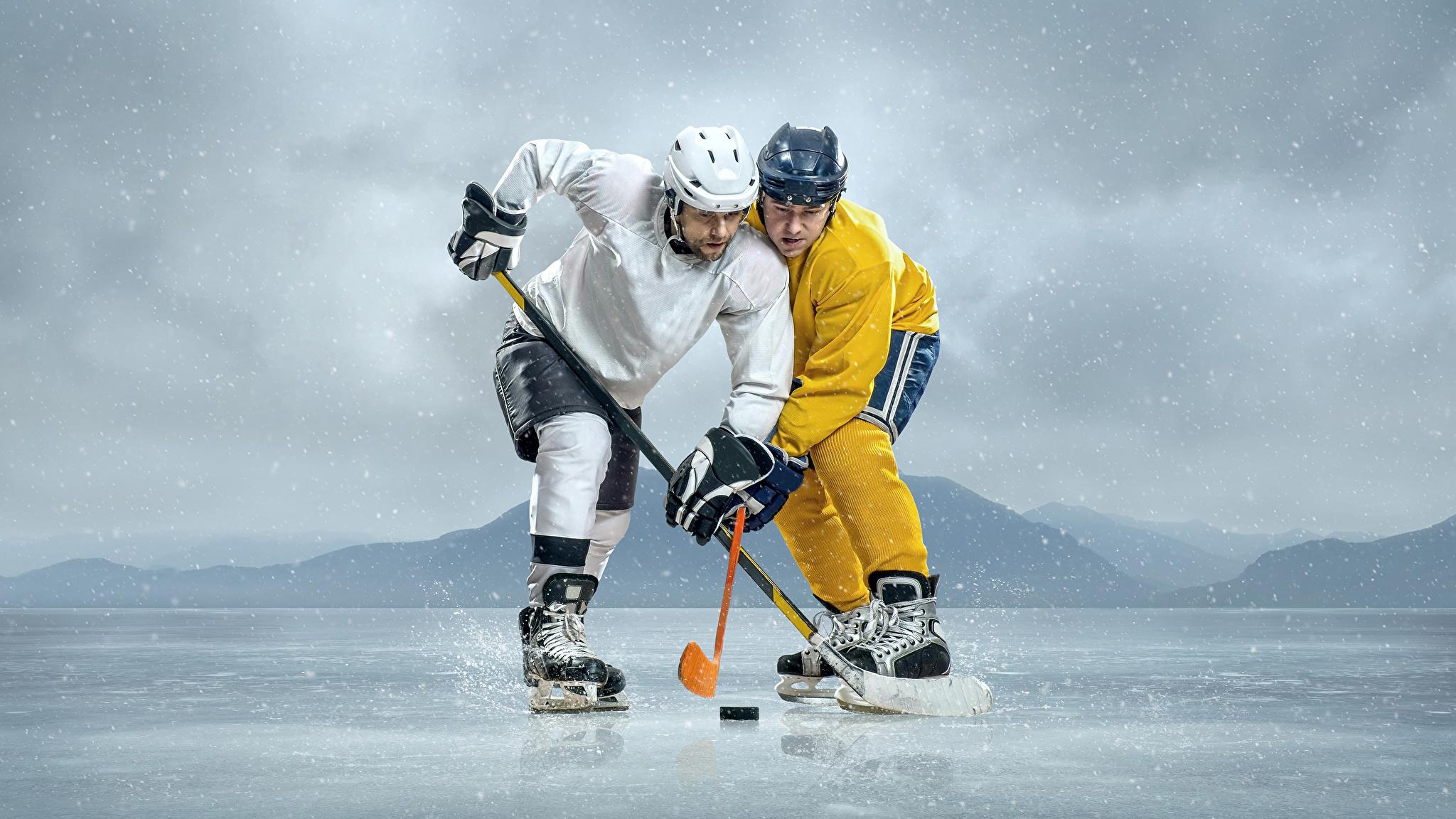 Hintergrundbilder Helm Mann Eis 2 Sport Hockey Uniform 2048x1152 Zwei
