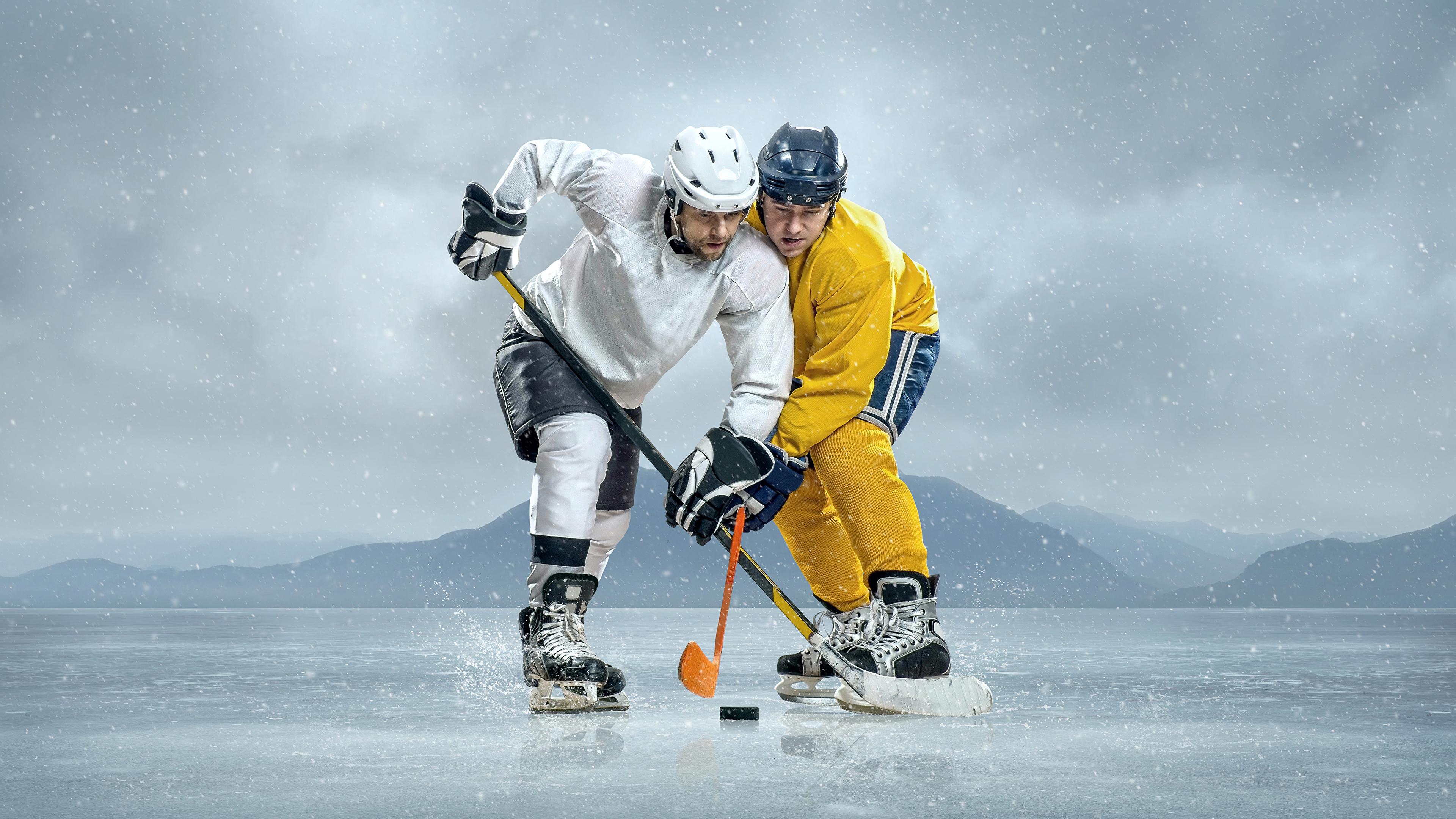 Hintergrundbilder Helm Mann Eis 2 Sport Hockey Uniform 3840x2160 Zwei