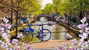 Fotos Amsterdam Niederlande Fahrrad Kanal Städte