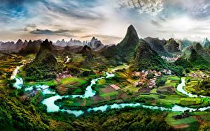 Sfondi desktop Cina Fiume Edificio Campo agricolo Il dirupo Guangxi Province Natura