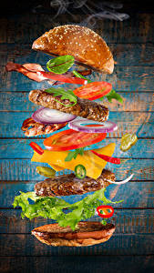 Bilder Fast food Burger Brötchen Fleischwaren Gemüse Bretter