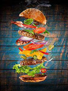 Images Fast food Hamburger Buns Meat products Vegetables Wood planks Food