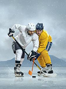 Bilder Hockey Mann 2 Uniform Helm Eis sportliches