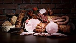 Hintergrundbilder Fleischwaren Wurst Schinken Mauer Geschnitten