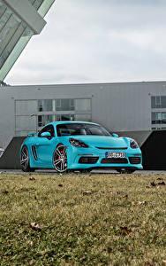 Hintergrundbilder Porsche Hellblau Metallisch 2016-17 TechArt Porsche 718 Cayman (982C) automobil