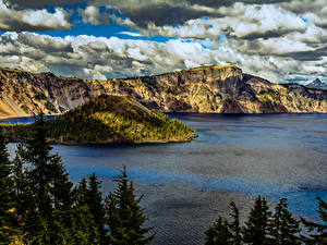Fotos Vereinigte Staaten Park Gebirge See Fichten Crater Lake National Park Oregon