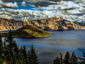 Fotos Vereinigte Staaten Park Gebirge See Fichten Crater Lake National Park Oregon Natur