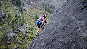 Image Man Mountaineering Crag Climbers athletic