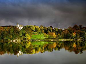 Hintergrundbilder Norwegen Bergen Herbst Wald Bucht Gamlehaugen Natur