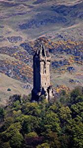 Bilder Schottland Berg Bäume Türme Wallace Monument Stirling, Stirling Natur
