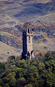 Bilder Schottland Berg Bäume Türme Wallace Monument Stirling, Stirling