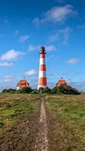 Hintergrundbilder Himmel Leuchtturm Deutschland Westerheversand Natur