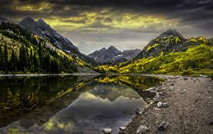 Images USA Mountains Lake Stones Autumn Landscape photography Colorado